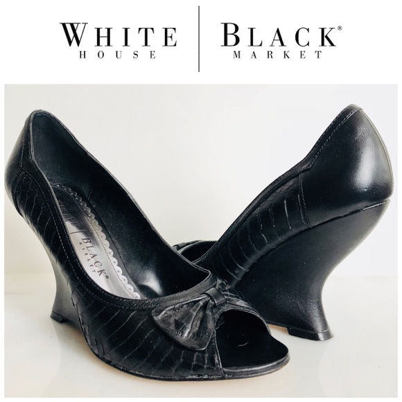 0b20f1bf76 White House Black Market Shoes | Whbm Black Peeptoe Wedges Wbow Size ...